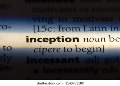 inception word in a dictionary. inception concept.