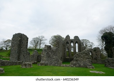 INCH, NORTHERN IRELAND - APRIL 21: Abbey ruins 21 April, 2017 at Inch. Inch had a huge abbey at the medieval times.
