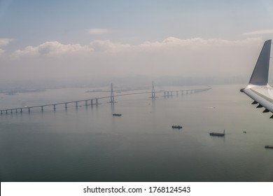 Incheon Bridge - aerial view during approach to Seoul Incheon Airport