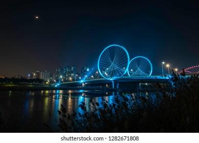 Incheon Central park night city Bridge beautiful.Korea