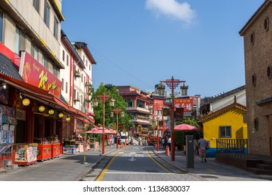 Incheon chinatown restaurants and shops along the street  taken during summer afternoon. It is in Jung-gu district of incheon in south korea. Taken on July 18th 2018.