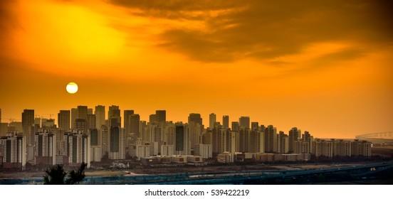 incheon city sunset