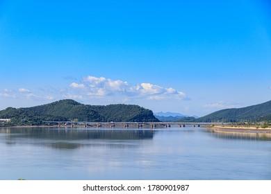 Incheon Ganghwa Bridge scenery. Ganghwado landscape and blue sky.