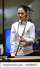 INCHEON - July 3:Cha Yu-Ram billiard player of South Korea participates in an 4th Asian  Indoor and Martial Arts Games 2013 at Songdo Convensiaon on July 3, 2013 in Incheon, South Korea.