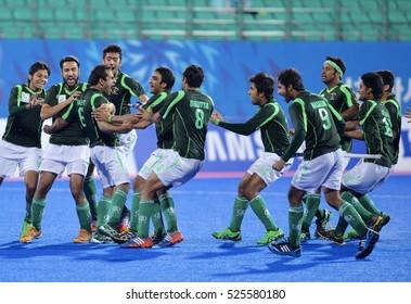 INCHEON, Korea, 30 September 2014: Pakistan hockey team in action against the Malaysian hockey team when playing in Seonhak Hockey Stadium, at the Asian Games 2014, Incheon, South Korea.