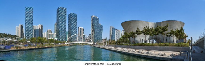 Incheon, Korea - April 27, 2017: Songdo International Business District (Songdo IBD) with Songdo Central Park and Tri-bowl. The city is a smart city and connected to Incheon International Airport.