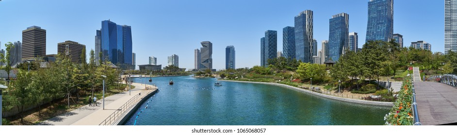 Incheon, Korea - April 27, 2017: Songdo International Business District (Songdo IBD) with Songdo Central Park. The city is a new smart city and connected to Incheon International Airport.