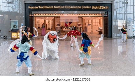 Incheon, Korea - August 2018: Unidentified Koreans dancing traditional dances at incheon international airport of Seoul, South Korea