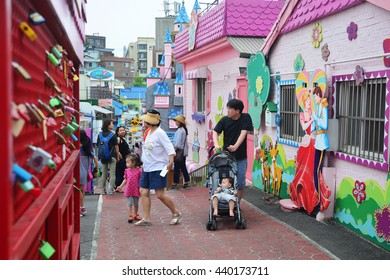 Incheon, Korea - June 11, 2016 : Songwol-dong Fairy Tale Village Incheon Village provides a colorful collection of the best fairy tales and comics characters.