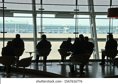 Incheon, Seoul/ South Korea-Feb 16, 2012: Waiting for my flight return to Taiwan in the waiting room of Incheon International Airport. Such a great view from terminal to airport field.
