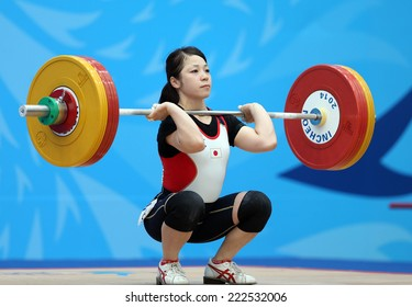 INCHEON - SEP 21:MIYAKE Hiromi of Japan participates in 2014 Incheon Asian Games at Moonlight Festival Garden Weightlifting Venue on September 21, 2014 in Incheon, South Korea.