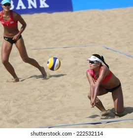 INCHEON - SEP 22:Usa TENPAKSEE of Thailand participates in 2014 Incheon Asian Games at Songdo Global Uni. Beach Volleyball on September 22, 2014 in Incheon, South Korea.