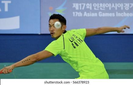 INCHEON - SEP 25 : LIN Dan of China participates in 2014 Incheon Asian Games at Gyeyang Gymnasium on September 25, 2014 in Incheon, South Korea.