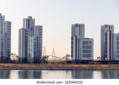 Incheon Songdo International City Landscape. Apartment and building scenery.