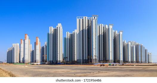 Incheon Songdo, Korea, April 18, 2020 - Incheon Songdo International City Landscape. Apartment and building scenery.