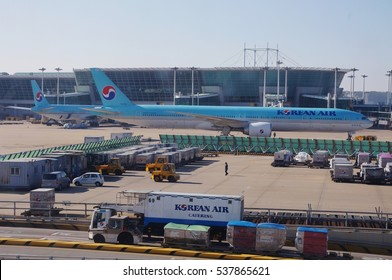INCHEON, SOUTH KOREA -1 DEC 2016- Airplanes on the tarmac at Incheon International Airport (ICN), the largest airport in South Korea and a hub for Korean and Asiana airlines.