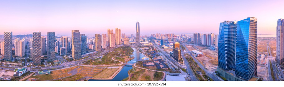 INCHEON, SOUTH KOREA - 28 APRIL 2018 : Aerial view Panorama Sunset of Central Park in Incheon, South Korea.