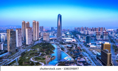 INCHEON, SOUTH KOREA - 28 APRIL 2018 : Aerial view twilight of Central Park in Incheon, South Korea.
