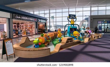 Incheon, South Korea - August 2018: Playground for kids inside Incheon International Airport interior