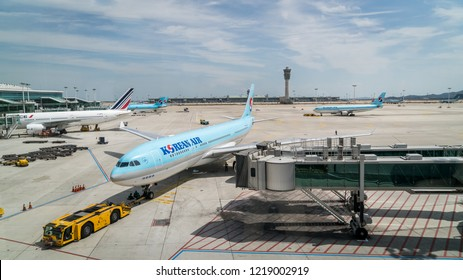 Incheon, South Korea - August 2018: View of airplanes from at Incheon International Airport ICN, the largest airport in South Korea.