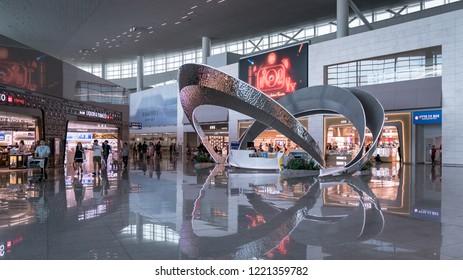 Incheon, South Korea - August 2018: View of Incheon International Airport interior