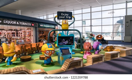 Incheon, South Korea - August 2018: Playground for kids inside Incheon International Airport interior, Seoul, South Korea