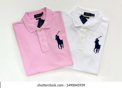 Incheon, South Korea - August 28, 2019: Polo Ralph Lauren shirts isolated on white background.