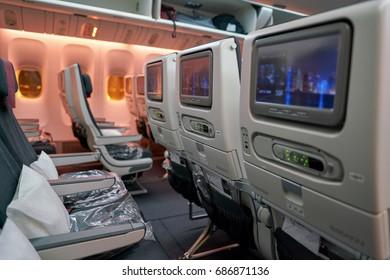 INCHEON, SOUTH KOREA - CIRCA JUNE, 2017: inside Qatar Airways Boeing 777. Qatar Airways, is the state-owned flag carrier of Qatar.
