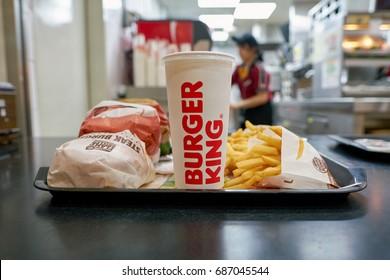 INCHEON, SOUTH KOREA - CIRCA JUNE, 2017: food served on a tray at Burger King. Burger King is an American global chain of hamburger fast food restaurants.