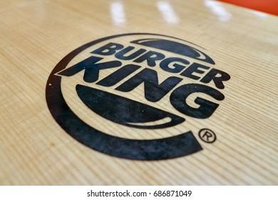 INCHEON, SOUTH KOREA - CIRCA MAY, 2017: close up shot of Burger King sign. Burger King is an American global chain of hamburger fast food restaurants.