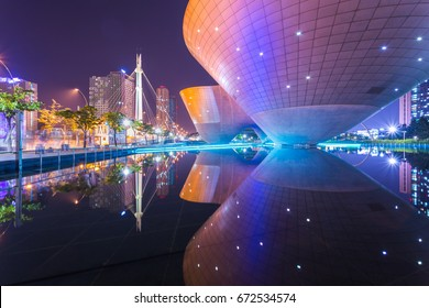 Incheon, South Korea - December 18, 2016: Tri-bowl Building at Central Park in Songdo district, Incheon, South Korea.
