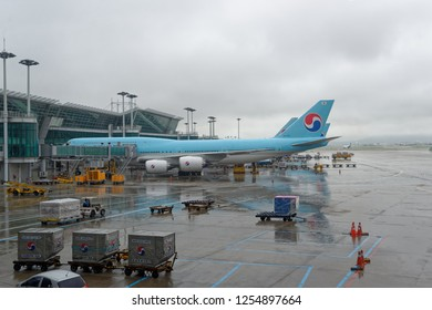 Incheon, South Korea - july 31 2017 : Korean Airlines boeing 747 on the tarmac of incheon international airport.