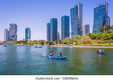 Incheon, South Korea - May 05, 2015: Central park in Songdo International Business District, Incheon South Korea.