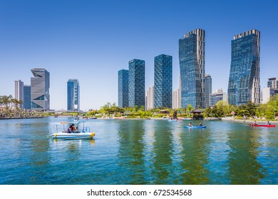 Incheon, South Korea - May 05, 2015: People are boating in the summer of korea at Central park in Songdo District, Incheon South Korea.