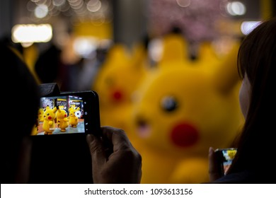 INCHEON, SOUTH KOREA - MAY 12, 2018: Pickachu dancing and parading on the Pokemon World Festival 2018 held at Triple Street Mall and Hyundai Department Store.