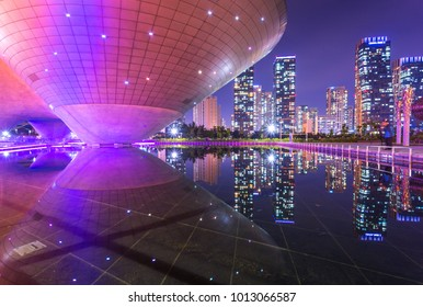 Incheon, South Korea - May 17, 2015: Tri-bowl Building at Central Park in Songdo district, Incheon, South Korea.