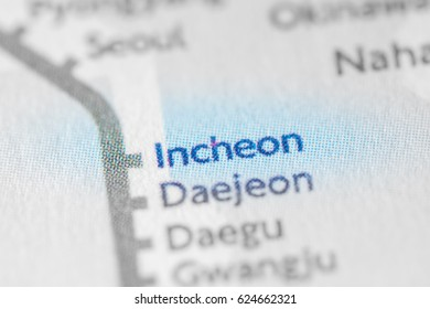 Incheon, South Korea on a geographical map.