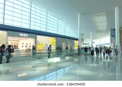 Incheon, South Korea - Sep 10, 2018: Shops and people in Incheon International Airport.