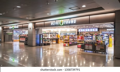 Inchoen / South Korea - April 1 2019: Cosmetic shop at Inchoen International Airport in morning