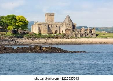 Incholm Abbey at Inchcolm Island in Firth of Forth near Scottish Edinburgh