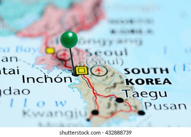 Inchon pinned on a map of South Korea