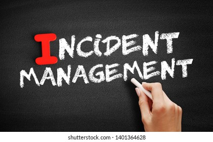 Incident management text on blackboard, business concept background