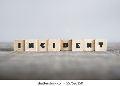 INCIDENT word made with building blocks