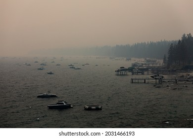 Incline Village, California USA - August 22, 2021: Smoke and haze fill the skies around the Lake Tahoe Basin from the Caldor Fire, diminishing air quality.