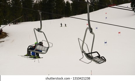 Incline Village, Nevada - February 2, 2019. Peak Ski season begins in Lake Tahoe. Photos taken at Diamond Peak Ski resort.