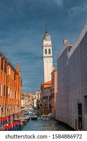 Inclined Bell Tower of the Greek Church of Saint George dei Greci in Venice, Italy