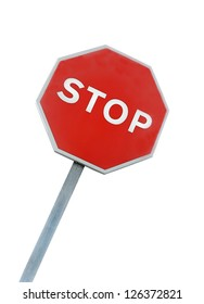 Inclined, international stop sign, red and white