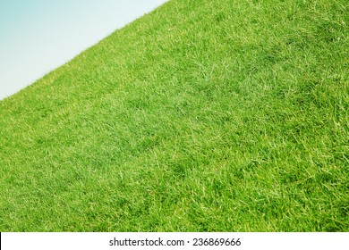 Inclined slope with green grass and blue sky