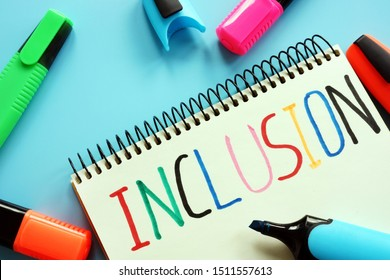 Inclusion education concept. Notebook and colored markers.