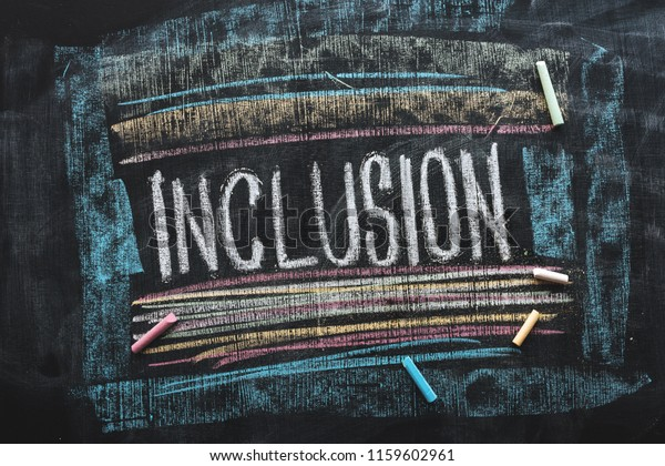 Inclusive education, word Inclusion on school blackboard written with chalk